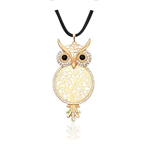 - Workings Tree of Life klaces Women Cryal Sweater Chain Collar Collier Big Owl Low Life Tree Pendant klace Female Jewelry