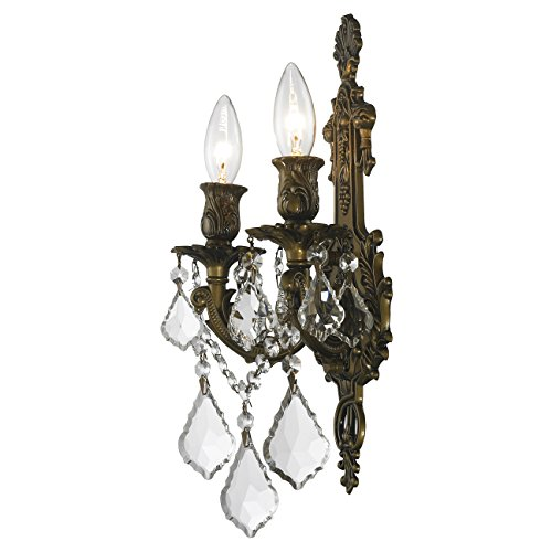 Worldwide Lighting W23315B12 Versailles 2 Light Crystal Wall Sconce, Antique Bronze Finish and Clear Crystal, Medium Fixture, 12'' W x 13'' H by Worldwide Lighting (Image #4)