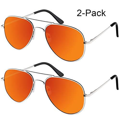 [Buy 1 Get 1]Elimoons Sunglasses for Men Women Aviator Polarized Metal Mirrored, UV400 Lens Protection, 2 Pack, Silver/Orange