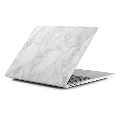 MacBook Air 13 Inch Case 2018, Halnziye MacBook A1932 Case, Smooth Soft-Touch Hard Shell Cover Designed for MacBook Air 13 Inch with Retina Display fits Touch ID (2018 Release) (White Marble)