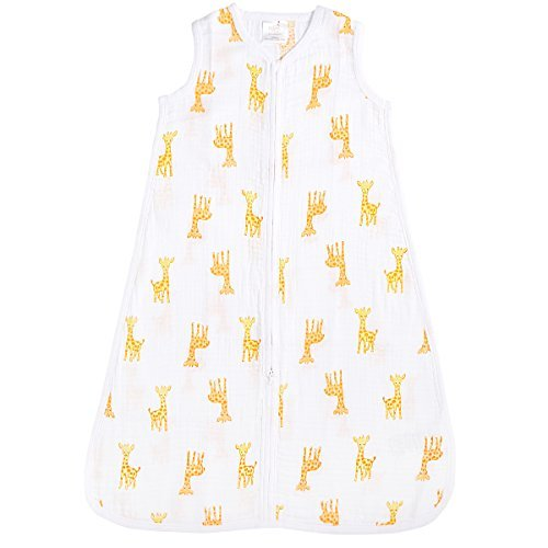 aden by aden + anais Classic Sleeping Bag, 100% Cotton Muslin, Wearable Baby Blanket, Safari Babes, Giraffe, Small, 0-6 Months - Little Giraffe Muslin