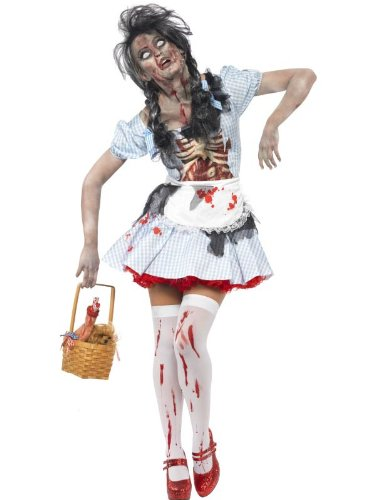 [Smiffy's Women's Horror Zombie Country girl Costume, Dress with Latex Chest Piece and Apron, Zombie Alley, Halloween, Size 10-12, 21579] (The Wizard Of Oz Costumes Uk)