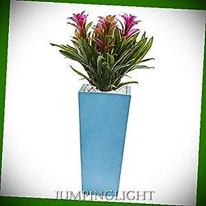 JumpingLight Triple Bromeliad in Turquoise Tower Vase, 26'', Purple Artificial Flowers Wedding Party Centerpieces Arrangements Bouquets Supplies 41