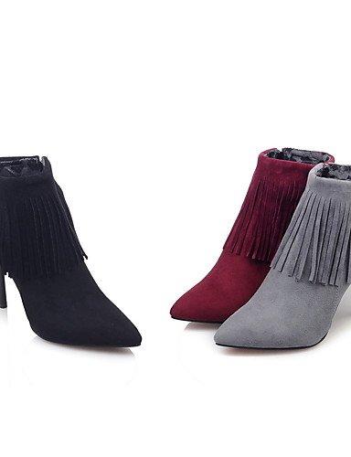 XZZ/ Damen-Stiefel-Kleid-Kunstleder-Stöckelabsatz-Spitzschuh / Modische Stiefel-Schwarz / Rot / Grau gray-us7.5 / eu38 / uk5.5 / cn38