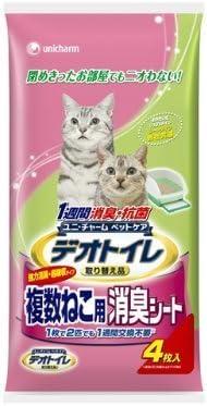 1週間消臭・抗菌デオトイレ 複数ねこ用消臭シート 4枚×24袋
