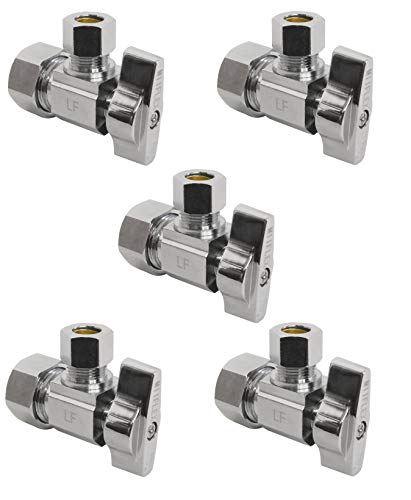 Heavy Duty Squared Body 1/2 in. NOM Comp Inlet x 3/8 in. OD Compression Outlet Chrome Plated Brass 1/4 Turn Angle Stop Valve (5 Pack)