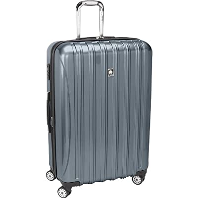 Delsey Luggage Aero Frame, Large Checked Luggage, Hard Case Spinner Suitcase, Blue