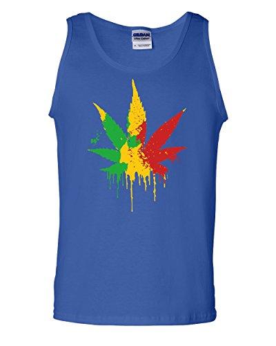 Pot Leaf Rasta Tank Top 420 Weed Smoking Reggae Marijuana Blue 3XL