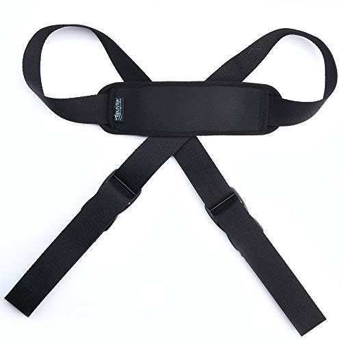 Beautyflier Black Adjustable Yoga Mat Strap Sling Baby Stroller Luggage Shoulder Strap with Neoprene Shoulder Pad Cushion and 2 Buckle