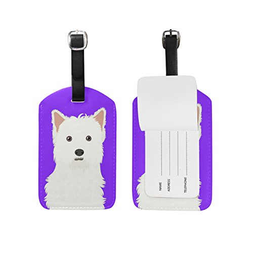 My Daily West Highland White Terrier Dog Luggage Tag PU Leather Bag Tag Travel Suitcases ID Identifier Baggage Label