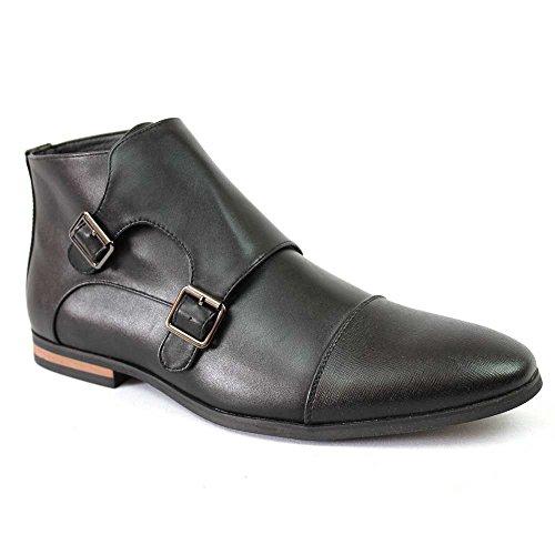 Men's Cap Toe Dotted Monk Strap Dress Boots Double Buckle Azar (13 U.S (D) MEDIUM, BLACK HERRINGBONE)
