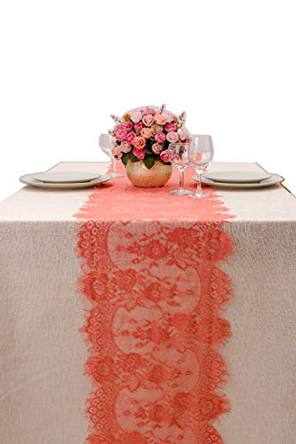 Crisky 14x120 Inch Coral Lace Table Runnerswith Rose Vintage Embroidered, Thin, Summer Wedding Reception Table Decoration Baby & Bridal Shower Party Decor ()