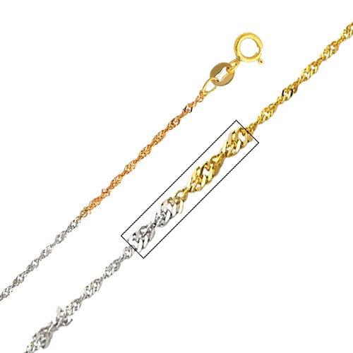 14k Tri Color Gold 1.2mm Singapore Chain Necklace with Spring Ring Clasp - (Tri Color Singapore Chain)