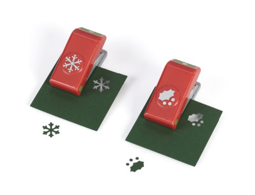 - EK Success Holly and Snowflake Mini Punch Set, 2-Piece, Old Package