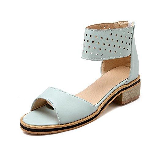 AllhqFashion Women's Solid Low Heels Zipper Open Toe Sandals Blue vOWVA