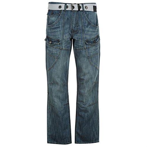 Airwalk Herren Cargo Jeans Denim Hose Straight Fit Guertel 6 Taschen Cargohose Blau 36W S