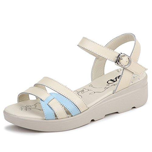 Xing Lin Sandalias De Mujer Calzado Casual Sandalias De Cuero Verano Mujer Pendiente Con Estudiantes Mujeres De Suela Gruesa Con Slip-Resistant Sandalias Verano Mujer blue