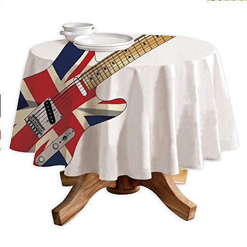Union Jack Round Polyester Tablecloth,Classical Electric Guitar UK Flag Great Britain Music Instrument Decorative,Dining Room Kitchen Round Table Cover,36