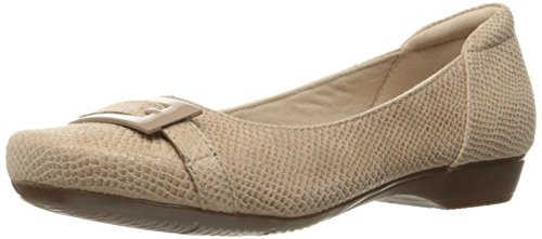 Clarks Women's Blanche West Flat, Sand Snake Print Leather, 6.5 M - Leather Dressy Shoes
