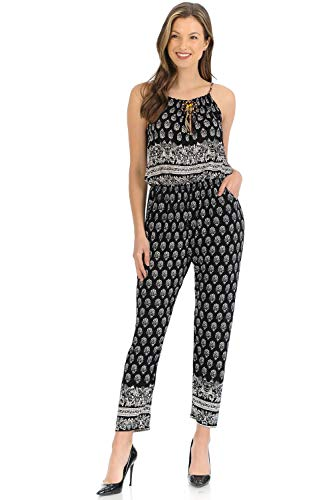 Auliné Collection Womens Sleeveless Halter Neck Boho Long Pants Romper Jumpsuit - White Black L/XL - Tie Collection Flowers White Black