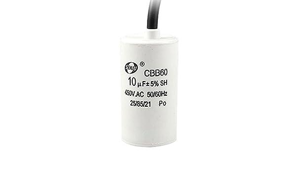 10uF 5% 450V AC Motor Running Capacitor CBB60 para la lavadora ...