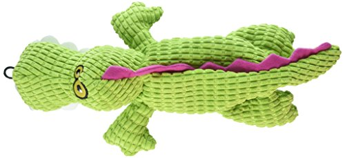 (TrustyPup Gator Plush Dog Toy with Silent Squeaker, Green )