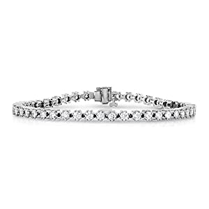 IGI Certified 14K White Gold Diamond Bracelet 4 CT Tennis I1-I2 Clarity