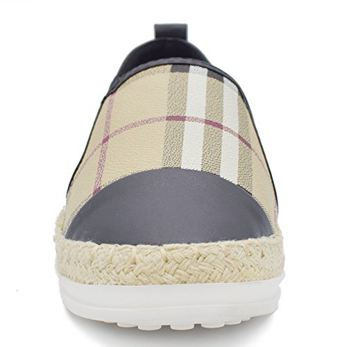 Tengyu Leather Slip On Flat for Womens Fashion Sneakers Plaid Loafers Espadrilles Comfort Driving Holiday Shoes (9 B(M)US/40 EU/25cm, Black) by Tengyu (Image #2)