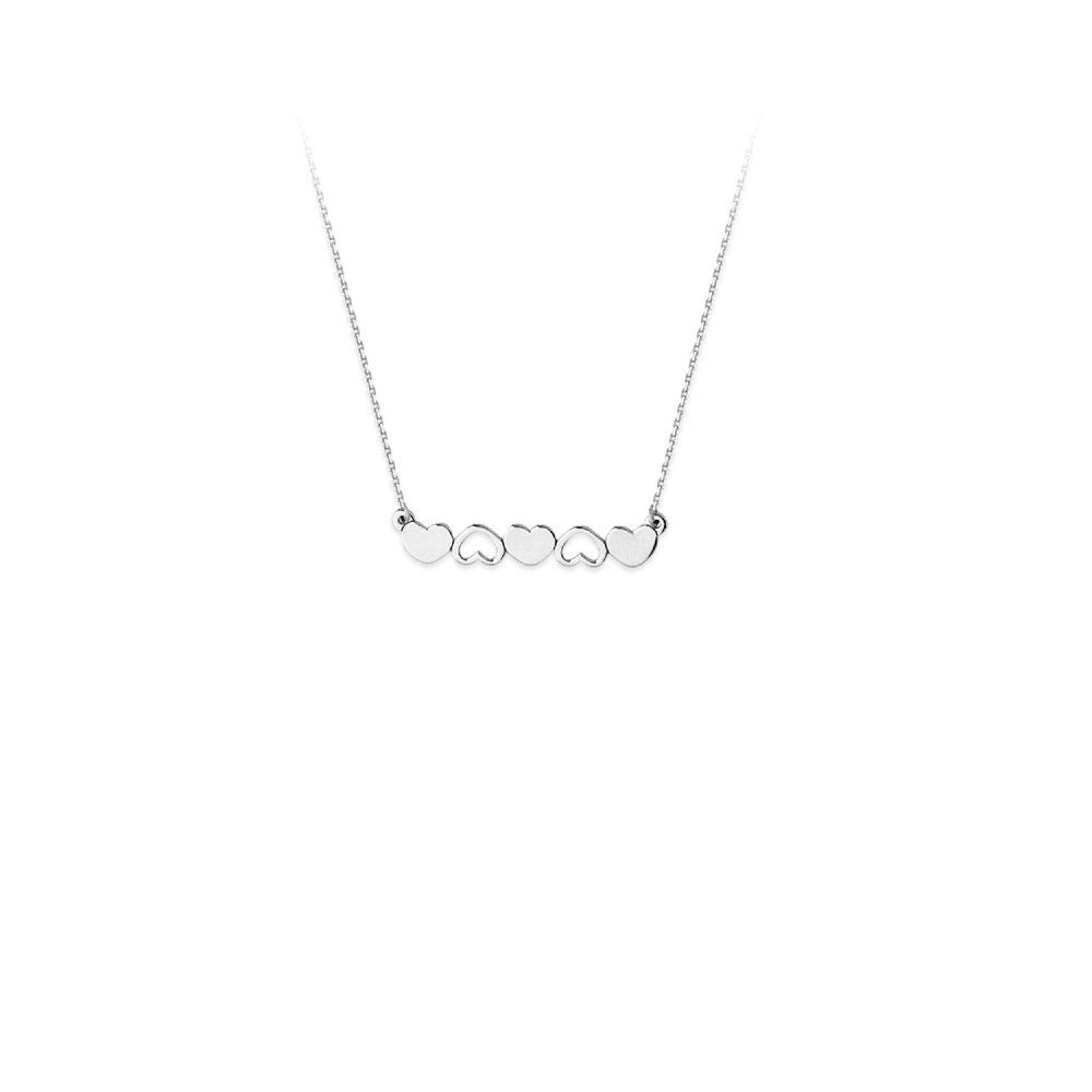 Sterling Silver Alternating Solid /& Open Hearts Adj Necklace
