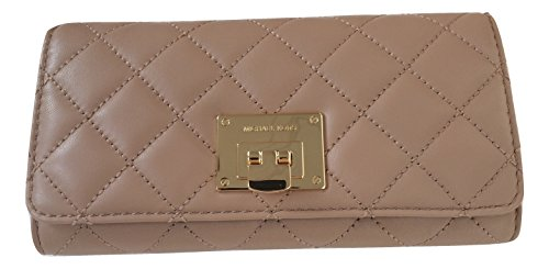 Michael Kors Astrid Carryall Quilted Leather Wallet Clutch (Dark (Michael Kors Push Lock)