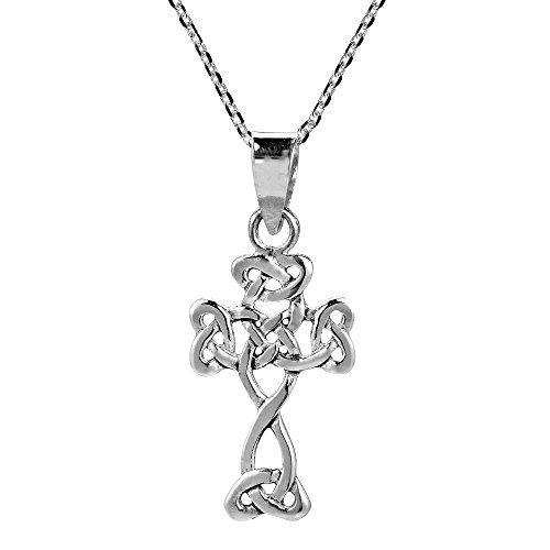 Petite 925 Argent Croix Celtique Trinity nbsp;pendentif Sterling Collier rrOaq