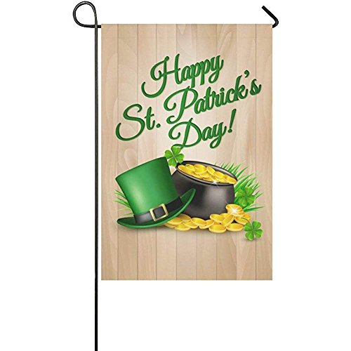 Wood with Happy St. Patrick's Day Garden Flag Banner 12 x 18