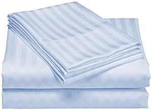 SCALABEDDING algodón egipcio 300hilos/cm², 20cm Pocket sábana bajera y fundas de oreiller-double XL Azul claro a rayas