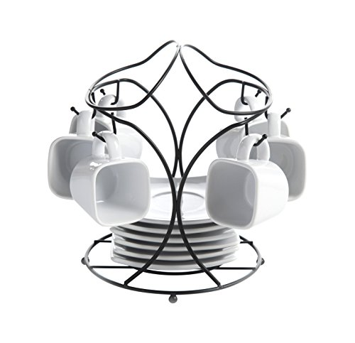 Gibson Gracious Dining Espresso & Saucer Set with Metal Rack, White