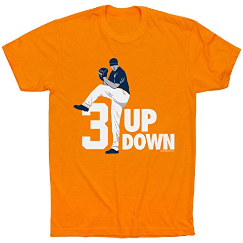 - ChalkTalkSPORTS 3 Up 3 Down T-Shirt | Baseball Tees Orange | Adult X-Large