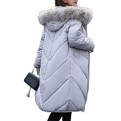 Casual Signore Collo Loozo Long Pelliccia Inverno Loose Moda Giacca In Cappuccio Cotone Spessa Gray 5qwYavq