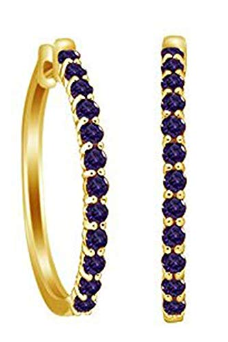 Jewel Zone US Round Cut Simulated Alexandrite Elongated Hoop Earrings in 14k Yellow Gold Over Sterling Silver