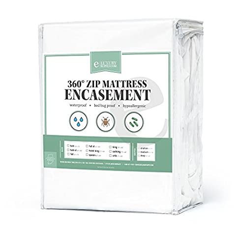 Box Spring Encasement w/ Removable Top Fully Waterproof & Washable - 10 Year Warranty - Bed Bug Box Spring Protector by eLuxurySupply, Queen, Shallow (9