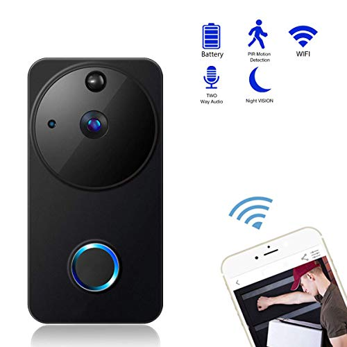 (X&LFC Wireless Video Doorbell, 720P HD WiFi Security Camera, Real-Time 2-Way Talk & Video, Night Vision,166°Wide Angle PIR Motion Detection and APP Control for iOS Android)