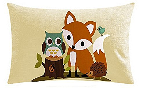 Fox Owl hedgehog animals Oil Painting Cotton Linen Throw Lumbar Waist pillow case Cushion Cover Home Sofa Decorative 12 X 20Inch (I)