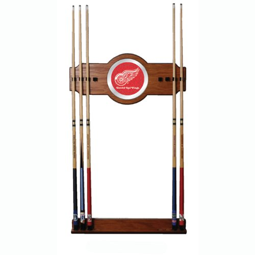 NHL Detroit Redwings Billiard Cue Rack with Mirror