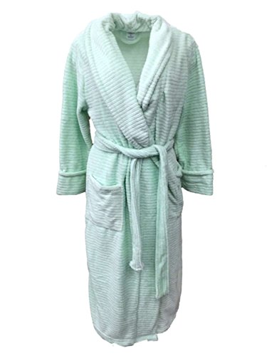 Croft & Barrow Womens Soft Plush Mint Green Striped Robe Housecoat (Barrow Plush)