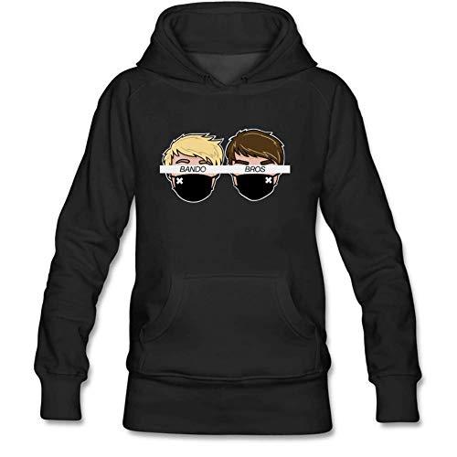 Lookingblue Cartoon Bando Bros Brock Head White Line Pullover Hoodies Sweatshirt for Women XL Black