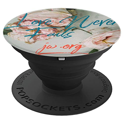 Love Never Fails 2019 JW Convention Theme Roses Blue Coral - PopSockets Grip and Stand for Phones and Tablets