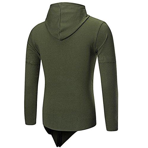 con chaqueta Ejército capucha ropa Sudadera Sudaderas Hombre de larga Amlaiworld Del Verde manga abrigo Tops Para hombre wFwaXqIxP