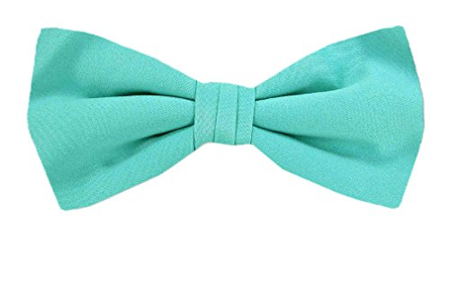B-PBT-ADF-42 - Boy's - Aqua Blue - Pre-Tied Solid Bowtie by Buy Your Ties