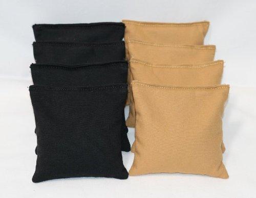 Cornhole Bags Set - (4 Black, 4 Gold) By Free Donkey - Hole Feed