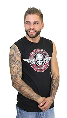 Harley-Davidson Mens Flying V Skull with Pistons Black Muscle T-Shirt