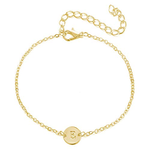 (Happrrow Gold Initial Anklets for Women, A-Z Letters Disc Name Bracelets Personalized Foot Chains (E))