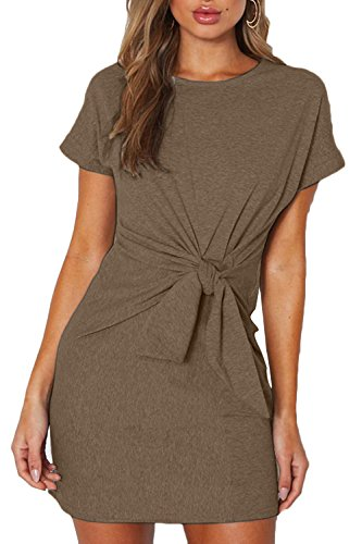 ioiom Women Slim Fit Tee Shirt Dress Crewneck Twist Front Casual Loose Long A-Line Mini Dress Tops Khaki M